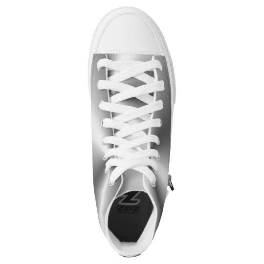 Silver Grey White Elegant Zipz High Tops