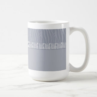 Silver Grey Zebra Fur Print Coffee Mug