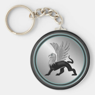 Silver Griffin Basic Round Button Key Ring