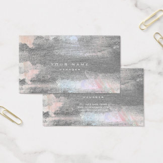 Silver Grungy Pastel Blue Cement Wall Gray Minimal Business Card