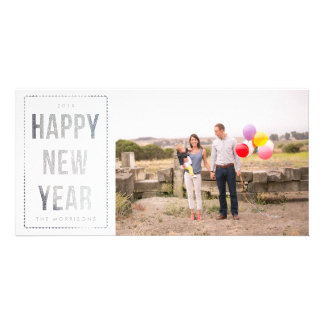 Silver Happy New Year Faux Glitter on White Photo Card Template