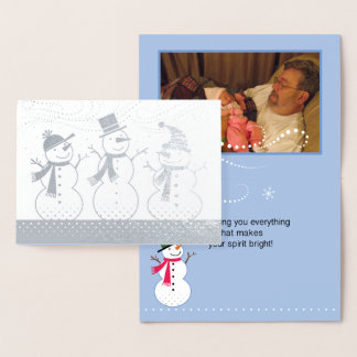 Silver Happy Snowmen with Snow Whirling Foil Card
