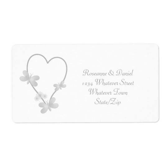 Silver Heart And Butterflies Wedding Address Label