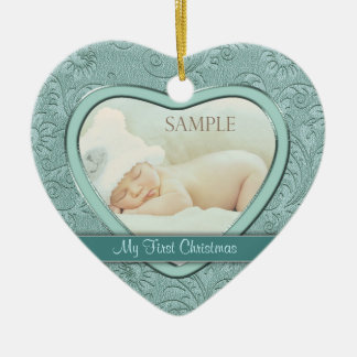 Silver Heart Aqua Swirl Baby First Christmas Christmas Ornament