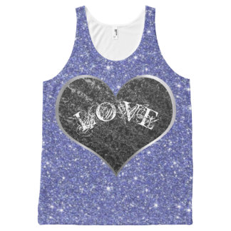 Silver Heart, LOVE, Glitter - Valentines Day All-Over Print Singlet