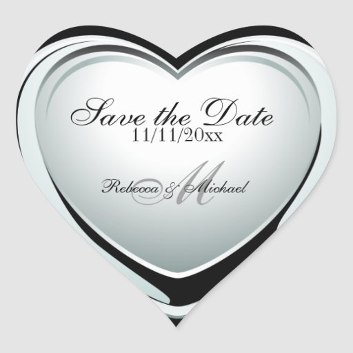 Silver Heart Pendant Save the Date Stickers