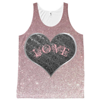 Silver Heart, Rose Gold Glitter - Valentine's Day All-Over Print Singlet