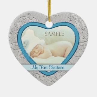 Silver Heart Swirl Baby Boy First Christmas Ceramic Ornament