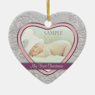 Silver Heart Swirl Baby Girl First Christmas Ceramic Heart Decoration