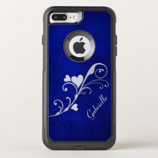 Silver Heart Swirl on Blue OtterBox Commuter iPhone 8 Plus/7 Plus Case