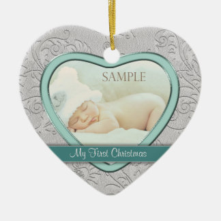 Silver Heart Teal Swirl Baby First Christmas Ceramic Heart Decoration