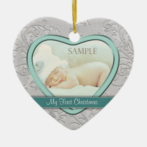 Silver Heart Teal Swirl Baby First Christmas Christmas Ornament