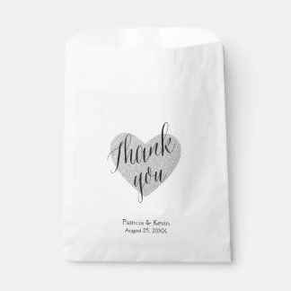 Silver heart thank you personalised favour bag favour bags