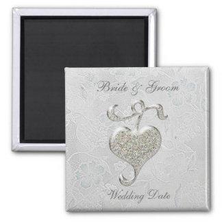 Silver Heart Wedding Favor Magnet