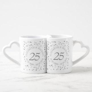 Silver Hearts Confetti 25th Anniversary Coffee Mug Set