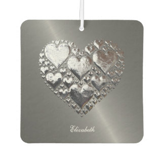 Silver Hearts On Brushed Steel