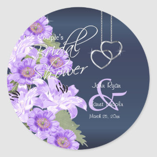 Silver Hearts on Lavender & Navy Satin Classic Round Sticker