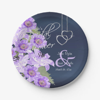 Silver Hearts on Lavender & Navy Satin Paper Plate