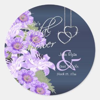 Silver Hearts on Lavender & Navy Satin Round Sticker
