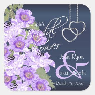 Silver Hearts on Lavender & Navy Satin Square Sticker