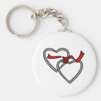 Silver Hearts Red Ribbon Keychain