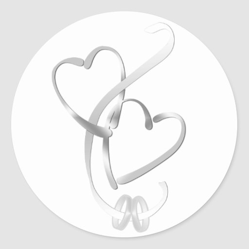 Silver Hearts Wedding Stickers