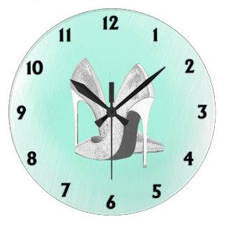 Silver Heels Mint Green Large Clock