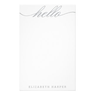 "Silver ""Hello"" Personal Stationery"