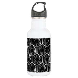 Silver hexagonal optical illusion 532 ml water bottle