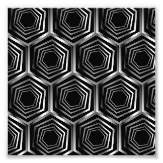 Silver hexagonal optical illusion art photo