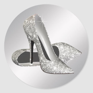 Silver High Heel Shoe Stickers