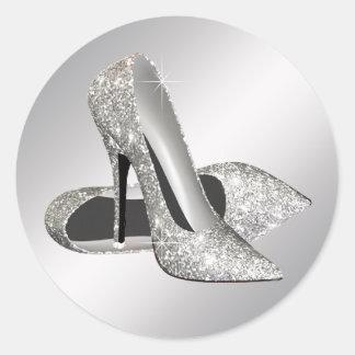 Silver High Heel Shoe Stickers