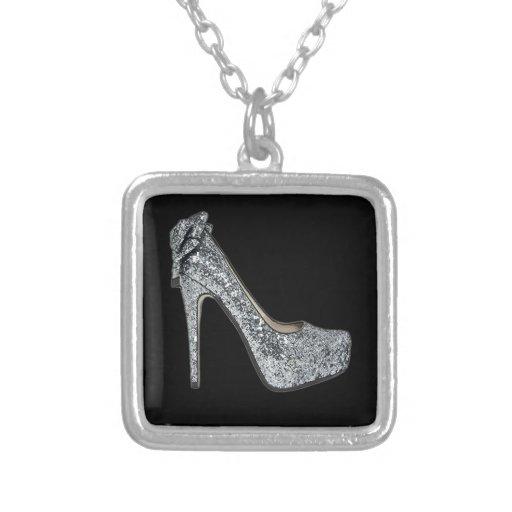 Silver High Heels Customize add Text Pendants