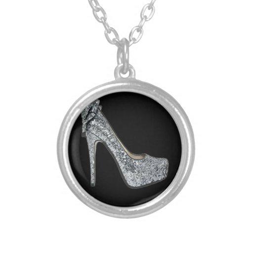 Silver High Heels Customize add Text Custom Jewelry