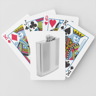 Silver hip flask bicycle playing cards