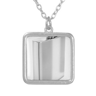 Silver hip flask silver plated necklace
