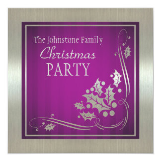 Silver Holly and Swirls on Purple Christmas Party Card