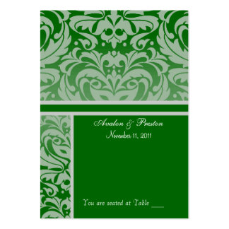 Silver & Holly Damask  Placecard Business Card