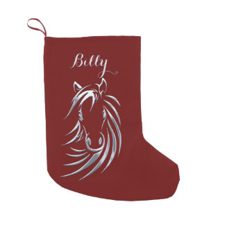 Silver Horse Head Name Small Christmas Stocking