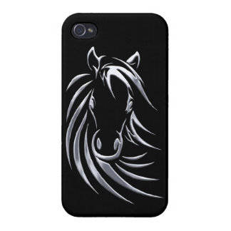 Silver Horse Head on Black Case For The iPhone 4