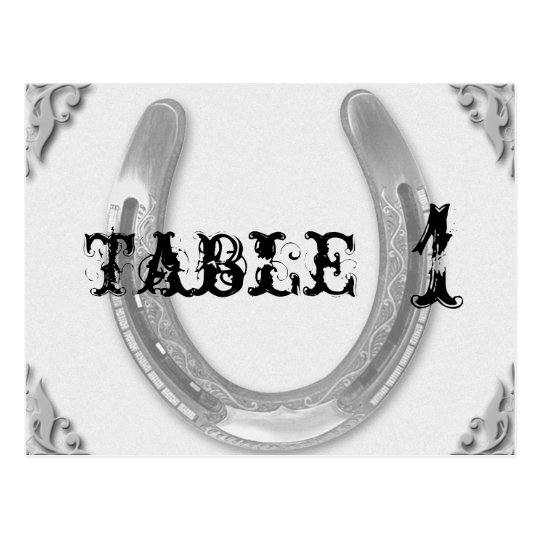 Silver Horseshoe on White Wedding Table Number Postcard