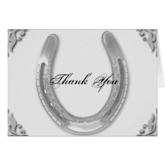 Silver Horseshoe on White Wedding Thank You card