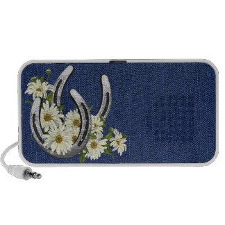 Silver Horseshoes & Daisies Travel Speaker