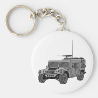 Silver Hummer Basic Round Button Key Ring