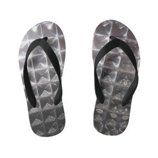 silver Industrial metal pattern kid's flip flops