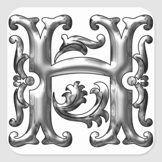 Silver Initial H Capital Letter Sticker