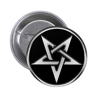 Silver Inverted Pentagram 6 Cm Round Badge