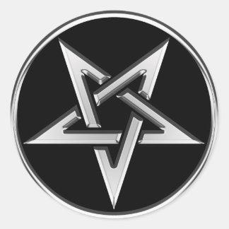 Silver Inverted Pentagram Round Sticker