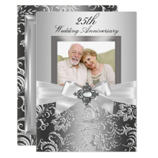 Silver Jewel Bow & Floral 25th Wedding Anniversary Card