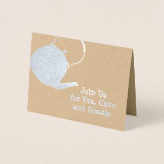 Silver Kettle - Tea & Cakes Themed Invitation